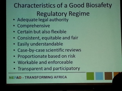 Diran Makinde presented this slide of recommendations for biosafety regulation at the AAAS annual meeting Saturday. Connor Walters/MEDILL