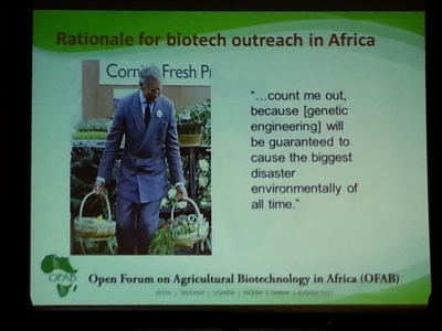 Daniel Otunge said that Africans are often hesitant to embrace genetically engineered crops because of the influence of respected international figures, like Prince Charles seen in this slide. Connor Walters/MEDILL