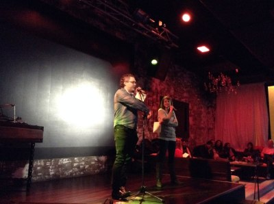 Ben Lillie and Erin Barker of  The Story Collider on stage Thursday at American Junkie.