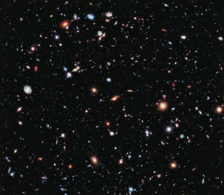 A combination of 10 years of Hubble Space Telescope photographs taken of a patch of sky at the center of the original Hubble Ultra Deep Field. Photo: NASA