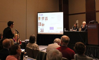 Dr. Karine Clément and Dr. Oluf Pedersen answer questions on a panel at their meeting for the AAAS Annual Meeting Saturday.