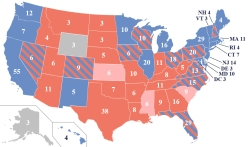 A map of the 2012 election. The states with stripes represent the battleground states. Pennsylvania was not included in the research done by Steven Brams, politics professor at New York University. (Credit: Creative Commons)