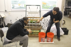 Pratt and a volunteer discuss a new design for an aquaponic system that can be installed in classrooms around Chicago. (Anne Evans/MEDILL)