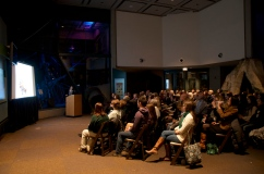 """Sarah Long, Population Management Center director, addresses the crowd at """"The Science Behind Zoo Sex."""""""