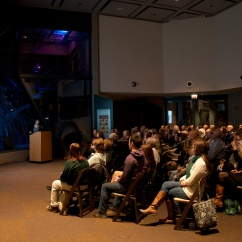 "Sarah Long, Population Management Center director, addresses the crowd at ""The Science Behind Zoo Sex."""
