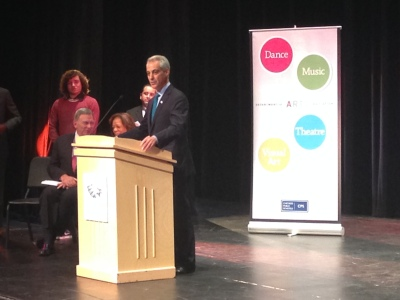 """Mayor Rahm Emanuel launches his """"Be Creative"""" campaign, an effort to raise $38 million for arts education funding."""