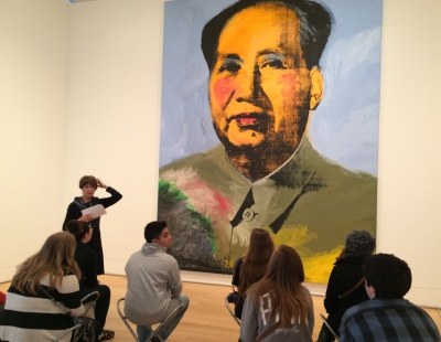 A school group studies Andy Warhol's Mao at the Art Institute of Chicago on Oct. 23, 2014. Nine of Warhol's work will be auctioned at Sotheby's Nov. 11 Contemporary Art Evening. Photo by Ryan Sachetta.