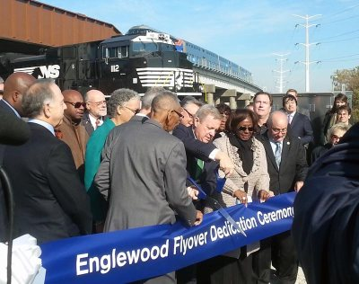 U.S. Sen. Richard Durbin and other federal, state and local officials mark the opening of the Englewood flyover.