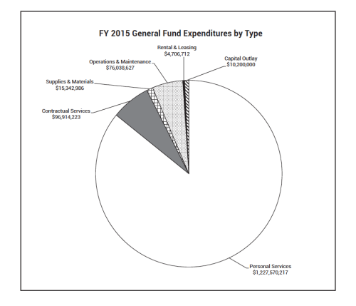 """Cook County's pension debt payments for 2015 total $192 million in the proposed budget and are included under """"Personal Services."""" Graph from Cook County's 2015 budget forecast."""
