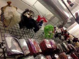 The Halloween Store, which specializes in selling accessories, has many wigs and masks on display.