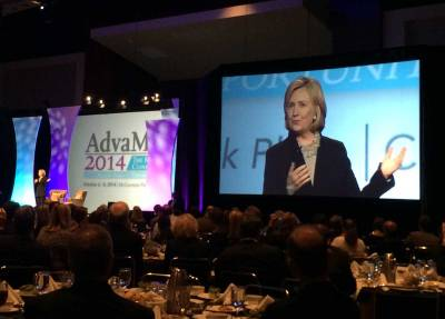 Hillary Clinton, former U.S. secretary of state, speaks at the concluding plenary session of the AdvaMed conference on Wednesday Oct. 8, 2014.