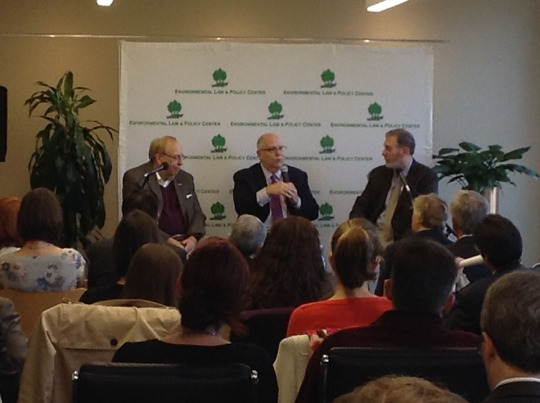 L to R:  Don Wuebbles, Tom Skilling and Howard Learner discuss climate change and forecast the future of the environment at a breakfast Wednesday in Chicago.