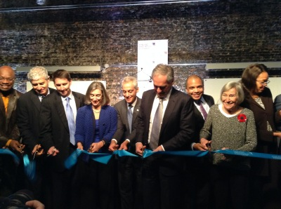 Mayor Rahm Emanuel joins University of Chicago President Robert Zimmer for the grand opening and ribbon cutting ceremony of the Chicago Innovation Exchange.
