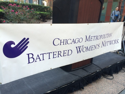 The Chicago Metropolitan Battered Women's Network kicked off Domestic Violence Awareness Month Wednesday with a rally downtown.
