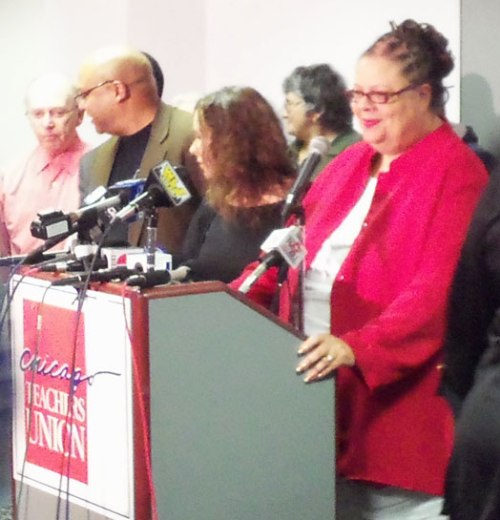 Chicago teacher's union president, Karen Lewis, at a press conference on April 10, 2012 responding to Mayor Rahm Emanuel's plan to lengthen the school day.