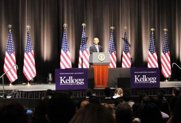 "Barack Obama addresses the Kellogg School of Management at Northwestern University of ""America's economic greatness."""