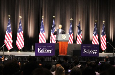 """President Barack Obama delivered a speech Thursday on the state of the U.S. economy at Northwestern University's Evanston campus. University President Morton Schapiro called it a """"special day in the life of Northwestern."""""""