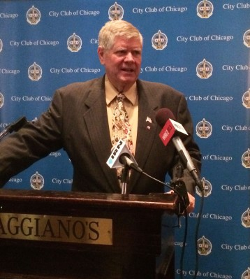 Jim Oberweis, Republican challenger for U.S. Senate, addresses members of the City Club of Chicago at the Maggiano's on Grand Ave.
