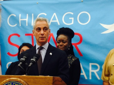 Mayor Rahm Emanuel discusses the Chicago Star Scholarship at the Chicago Cultural Center