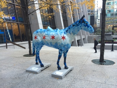A horse statue designed to portray the Chicago flag is seen on display on the Exelon Plaza near the Chase Tower in Chicago's Loop. Lyndsey McKenna/Medill