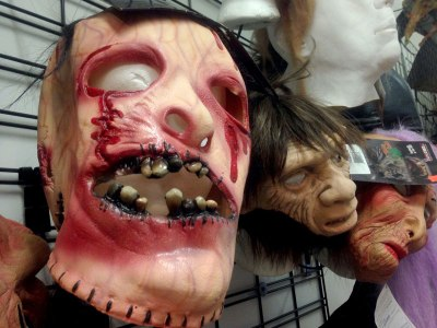 Fake blood drips off a grisly-looking mask at the Halloween Store in the Chicago Loop