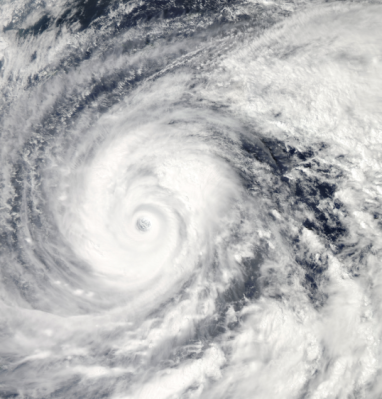 NASA satellite image of Super Typhoon Vongfong, taken Oct. 9. Climate scientists largely agree that global warming may lead to more devastating super-storms like this one, which killed 9 people and caused over $42 million in damage in Japan, Taiwan, and the Philippines.