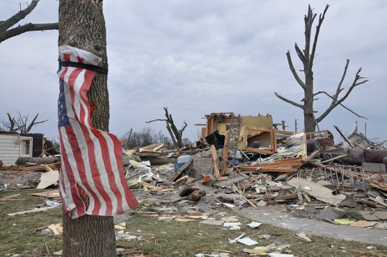 Damage from a tornado in Washington, Illinois, in November 2013.  Tornadoes are a result of climate change. Courtesy of Monika Agnieszka Wnuk