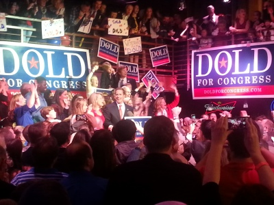Former U.S. Rep. Robert Dold gives his acceptance speech after defeating incumbent Brad Schneider