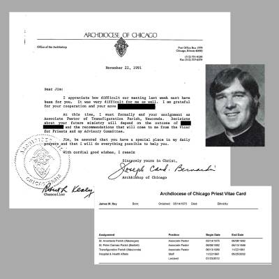 A 1991 letter from Archbishop Bernardin  to Rev. James Ray, informing Ray that he has been formally removed as associate pastor of Transfiguration Parish in Wauconda. At bottom right, an inset of Ray's vitae card showing his past positions. Photo of Ray courtesy of Bishop-Accountability.org. Records courtesy of the Archdiocese of Chicago. (click to enlarge)