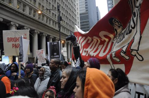 "Protesters marched to the Chicago Board of Trade on Tuesday as part of the ""Take Back Chicago"" initiative. (Michael Epstein/Medill News Service)"