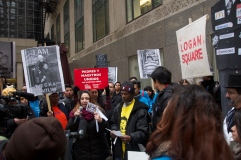 Organizations included the Chicago Teacher's Union, Chicago Coalition for the Homeless and Disability Rights Action Coalition for Housing (Michael Epstein/Medill News Service)