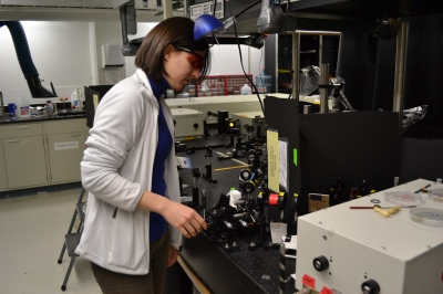 Merve Doğangün, a Northwestern graduate student in the nanotechnology program, prepares an experiment for continuing research on the safety  and sustainability of nanoparticles.