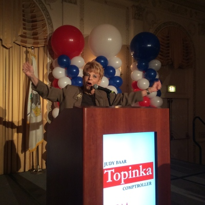 Judy Baar Topinka (R-Springfield) celebrates re-election victory of Illinois State Comptroller with supporters and staff.