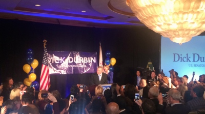 U.S. Sen. Dick Durbin (D-IL) gives a victory speech to a room full of his supporters Tuesday evening after defeating Republican Jim Oberweis.