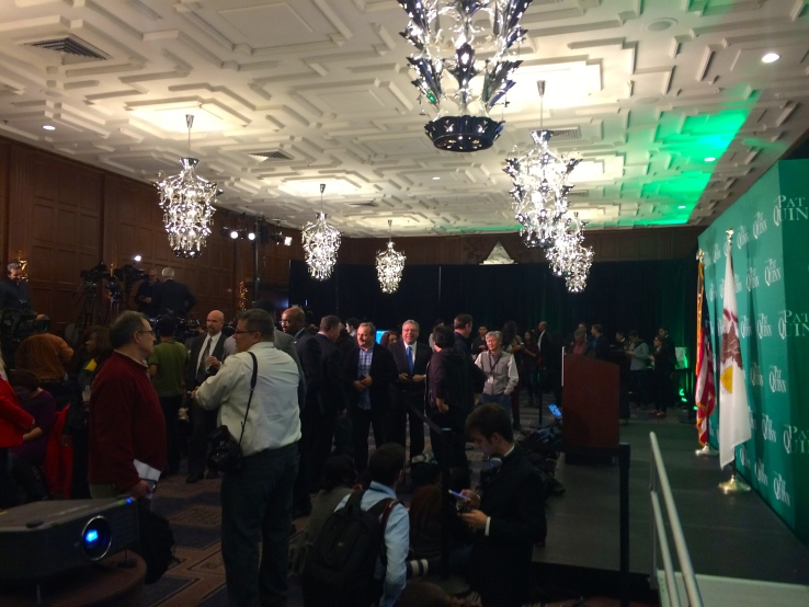 Supporters of Governor Pat Quinn gathered at Chicago's Allegro Hotel to await the gubernatorial results.