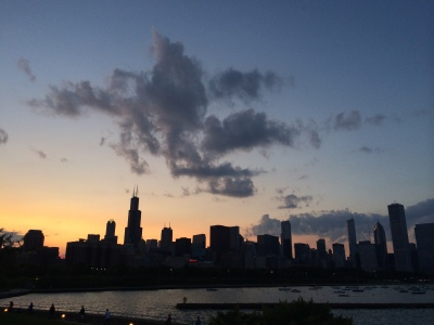 The sun sets on the Chicago skyline, as viewed from the Museum Campus. Lyndsey McKenna/Medill