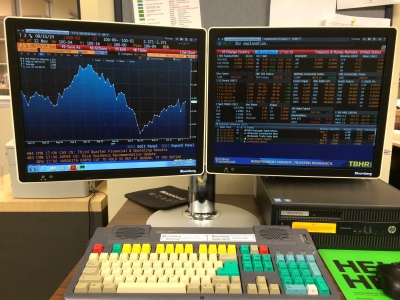 Treasury and money markets data on the Bloomberg terminal.