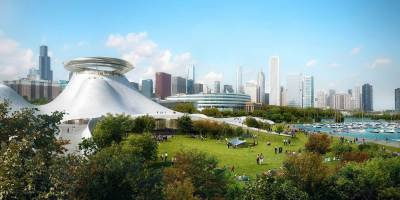 A computer rendering depicts the proposed design for the Lucas Museum of Narrative Art. Lucas Museum of Narrative Art/MAD Architects