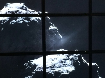 A picture of Comet 67P/Churyumov-Gerasimenkor, taken by European Space Agency probe Rosetta and displayed at the Adler Planetarium's Space Visualization Laboratory.