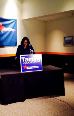 Duckworth prepares to speak to her supporters after her win Tuesday night.