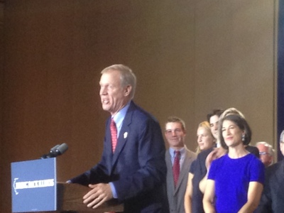 Illinois Governor-elect Bruce Rauner speaks to supporters at the Hilton in Chicago after winning the election.