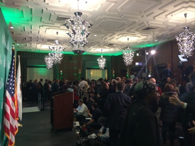 Supporters of Governor Quinn gather at the Allegro Hotel to await the results
