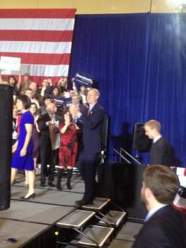 Rauner takes the stage, following his wife Diana, to deliver his acceptance speech.