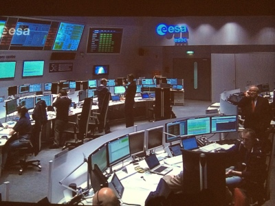 European Space Agency scientists and researchers monitor Philae's progress from their headquarters in Darmstadt, Germany.