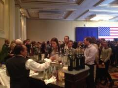 Attendees loosen up with some libation in the Hilton's International Ballroom.