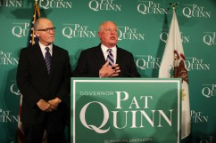 Alongside his running mate, Paul Vallas, Gov. Pat Quinn declines to concede to Republican challenger Bruce Rauner.