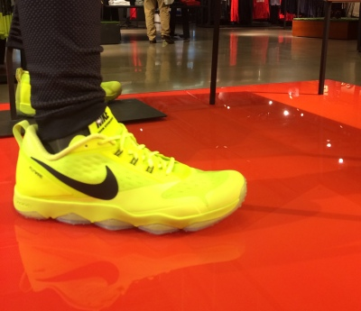 A vibrant pair of Nike's newest release, the Zoom Hypercross TR's on display at Niketown Chicago. Joe Musso / Medill