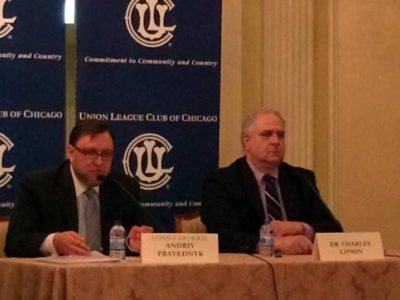 Andriy Pravednyk, Consul General of Ukraine, and  Charles Lipson, University of Chicago professor, speak about the Ukrainian crisis at a breakfast sponsored by the Union League Club of Chicago Thursday, November 20, 2014.