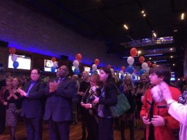 Supporters cheer on Jesse White who won a fifth term as Illinois Secretary of State