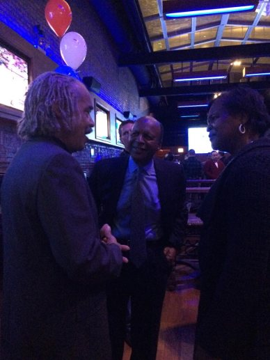 Jesse White greets supporters Tuesday night.